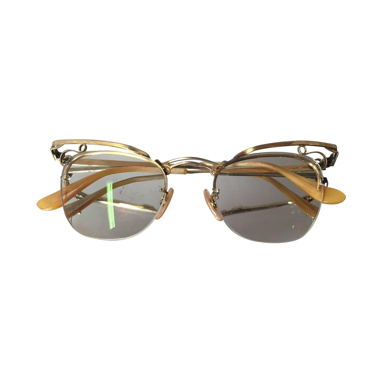 Gold Filled Eyeglass Frames : 1950s Delicate Gold Filled Cat-Eye Eyeglass Frames w/ Lens ...