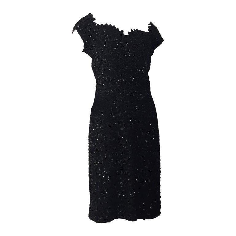 1950s Solid Sequined Boned Bodice Off-Shoulder Cocktail Dress For ...