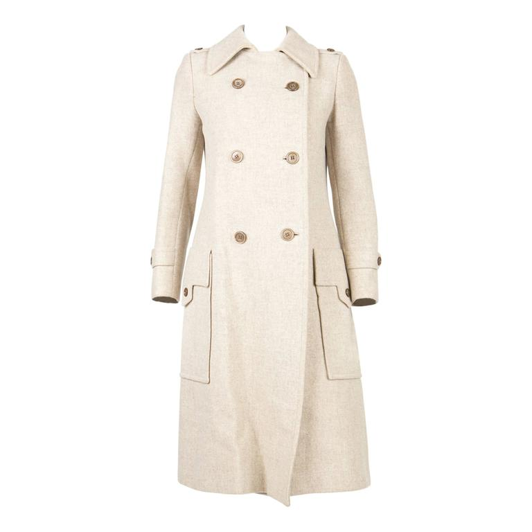 1960s Ted Lapidus Ivory Wool Coat For Sale