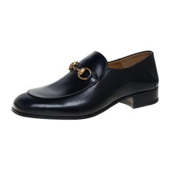 Gucci Black Leather Horsebit Quentin Slip On Loafers Size 40.5