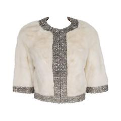 1950's Rhinestone Crystal Beaded Ivory-White Mink Fur Cropped Bolero Jacket