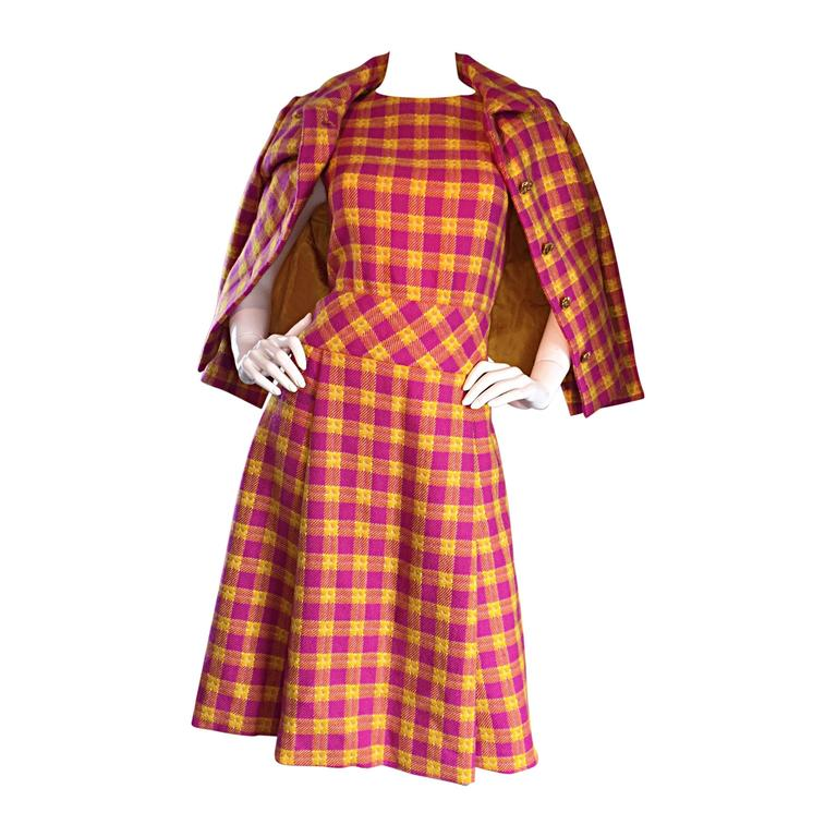 1960s Bill Blass for Maurice Retner Pink + Yellow Plaid A - Line Dress & Jacket For Sale