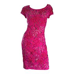 Wonderful Carmen Marc Valvo Early 90s Hot Pink Fuchsia Beaded Vintage Silk Dress