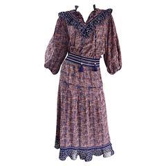 Vintage Diane Freis ' Horsebit + Leaves ' Printed Bohemian / Boho Tassel Dress
