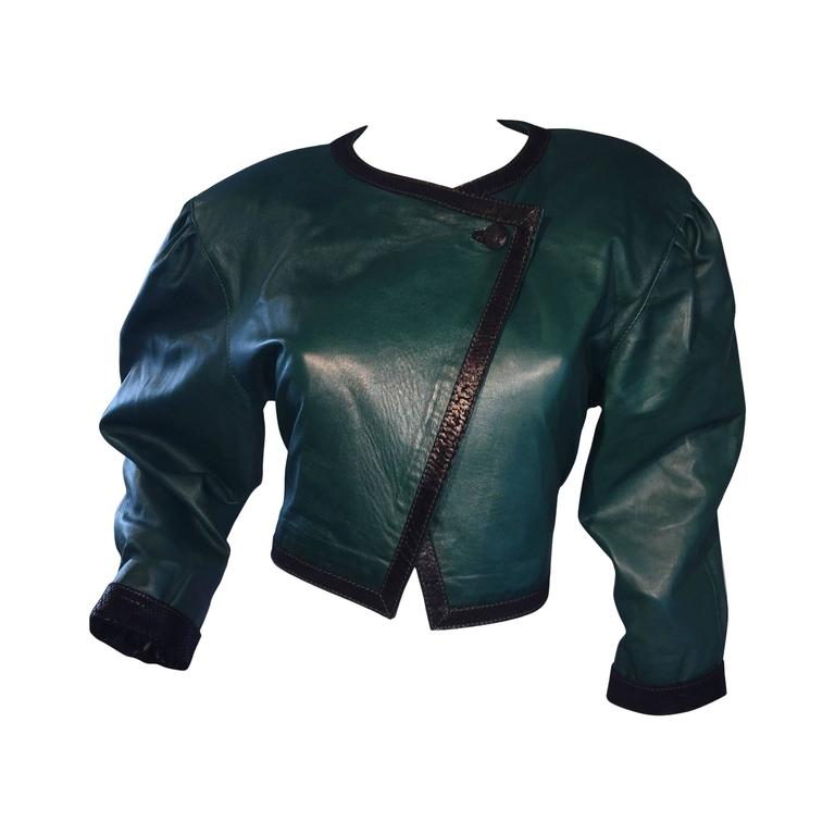Filippo Burgio Vintage Tulipano Leather of Florence Hunter Green Cropped Bolero 1