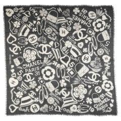 New Chanel Black Symbols Iconic Logo Cashmere Shawl