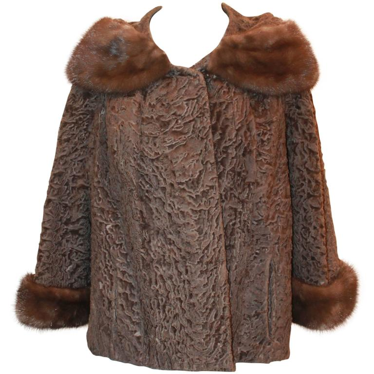 Vintage Brown Persian Lamb Jacket with Mink Collar & Cuffs - M For Sale