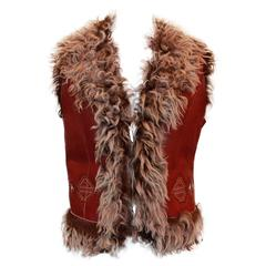 Iceberg Red Aztec Stitched Leather Vest with Faux Fur - L