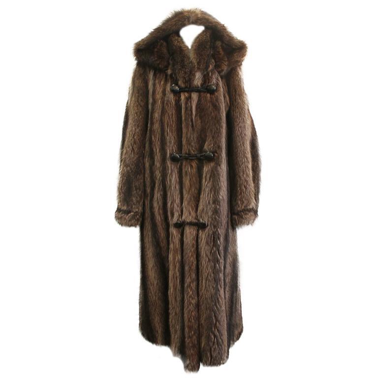 Custom Montgomery Style Hooded Brown Raccoon Full Coat - M For Sale