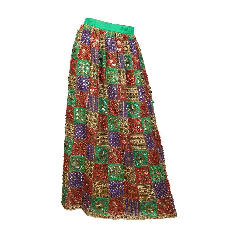 Malcolm Starr Fully Beaded and Embroidered Maxi-Skirt For Sale