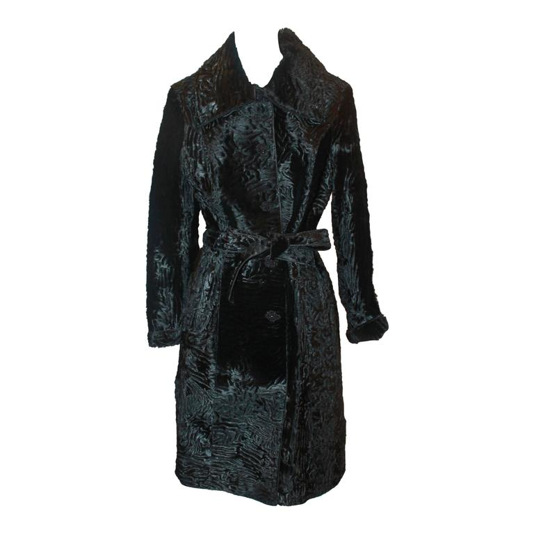 Marengo Black Broadtail Collared Full Coat with Belt - L For Sale