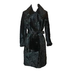 Marengo Black Broadtail Collared Full Coat with Belt - L