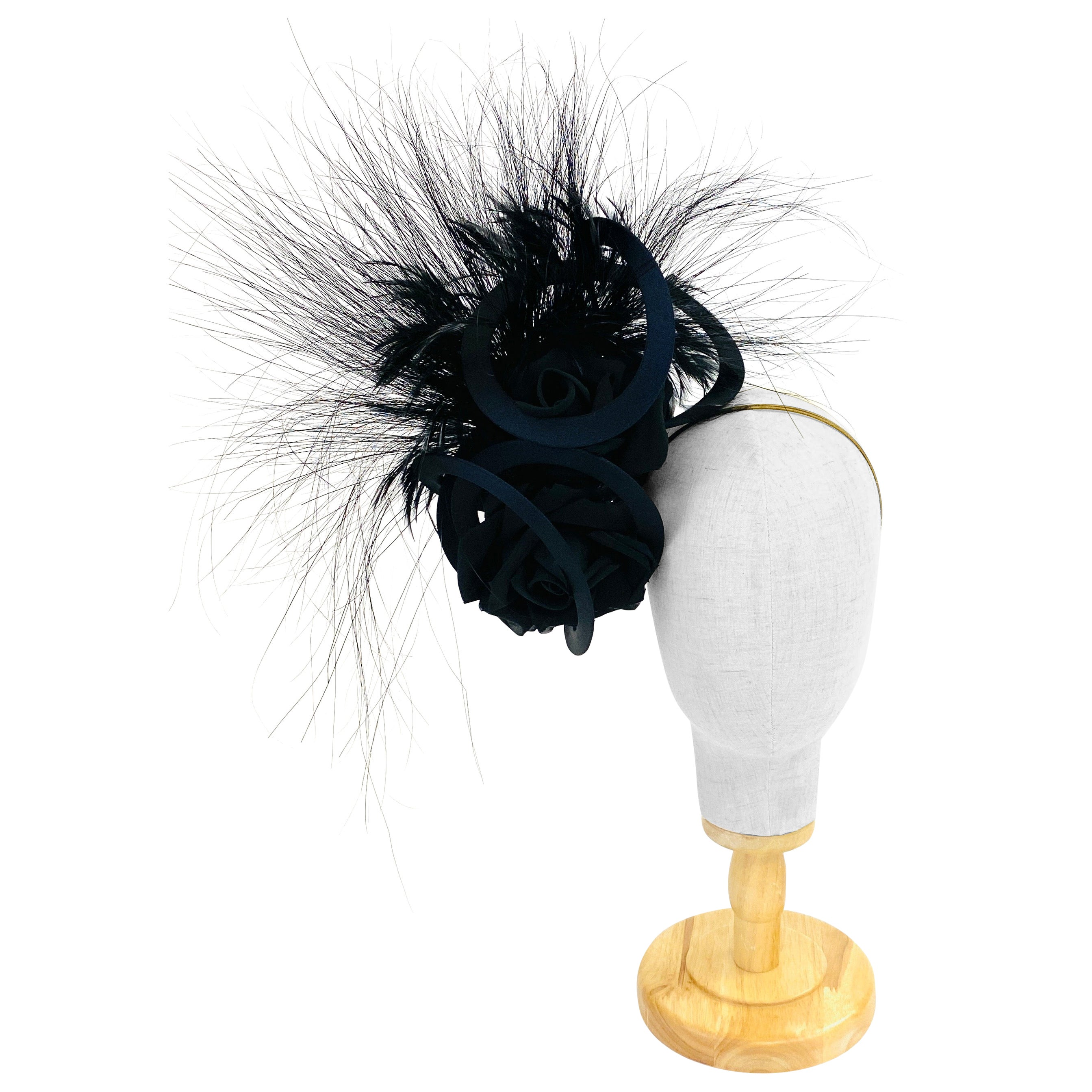 Philip Treacy Navy and Black Feather Sculptural Fascinator