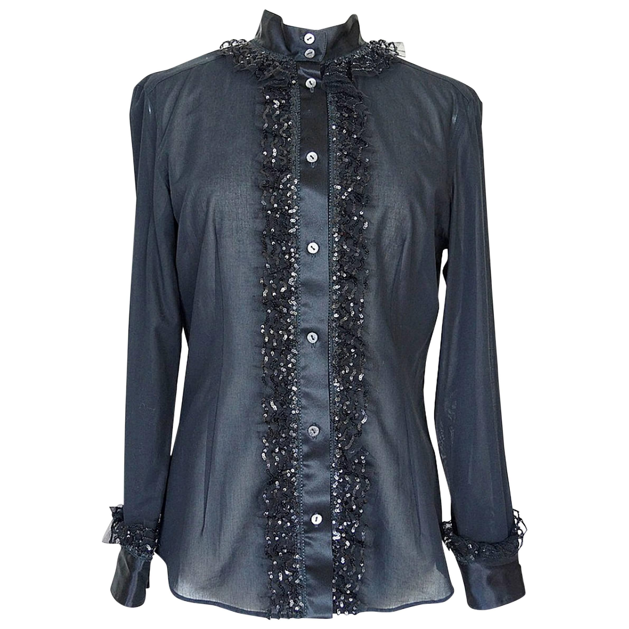 Dolce&Gabbana Top Black Silk Paillette and Tulle Trim 46 / 8
