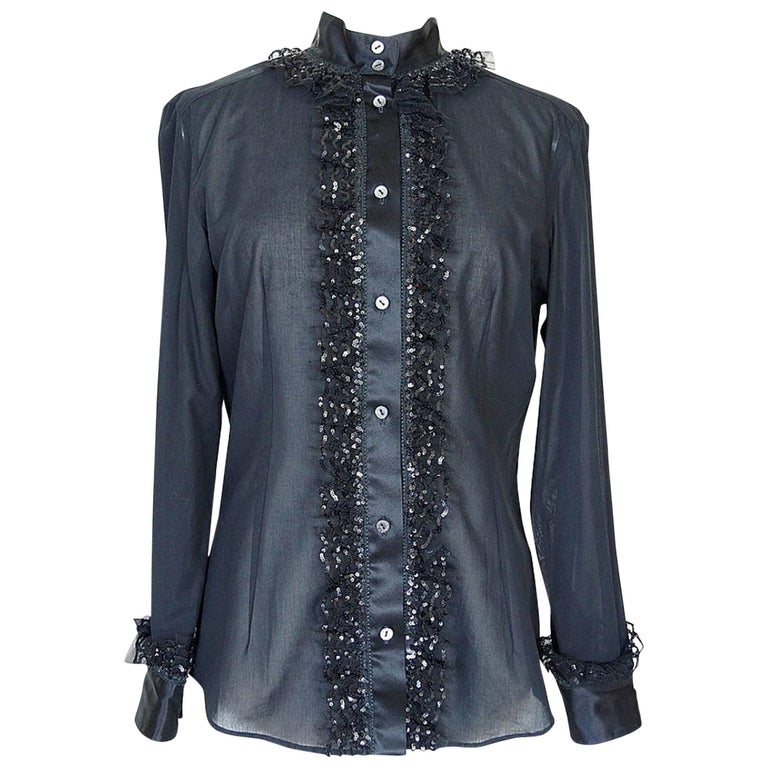 Dolce&Gabbana Top Ruffle Sequin Detail Gorgeous Shaping 46 Fits 8