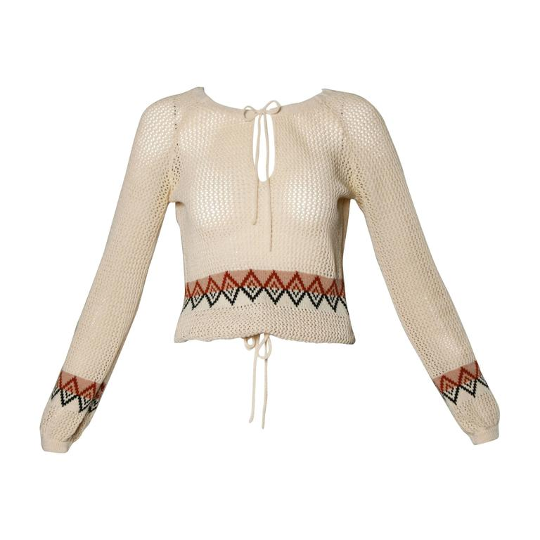 1970s Vintage Wool Hand-Knit Bohemian Sweater Top at 1stdibs