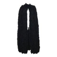 Franka, full length black marabou fur cape, c. 1960s