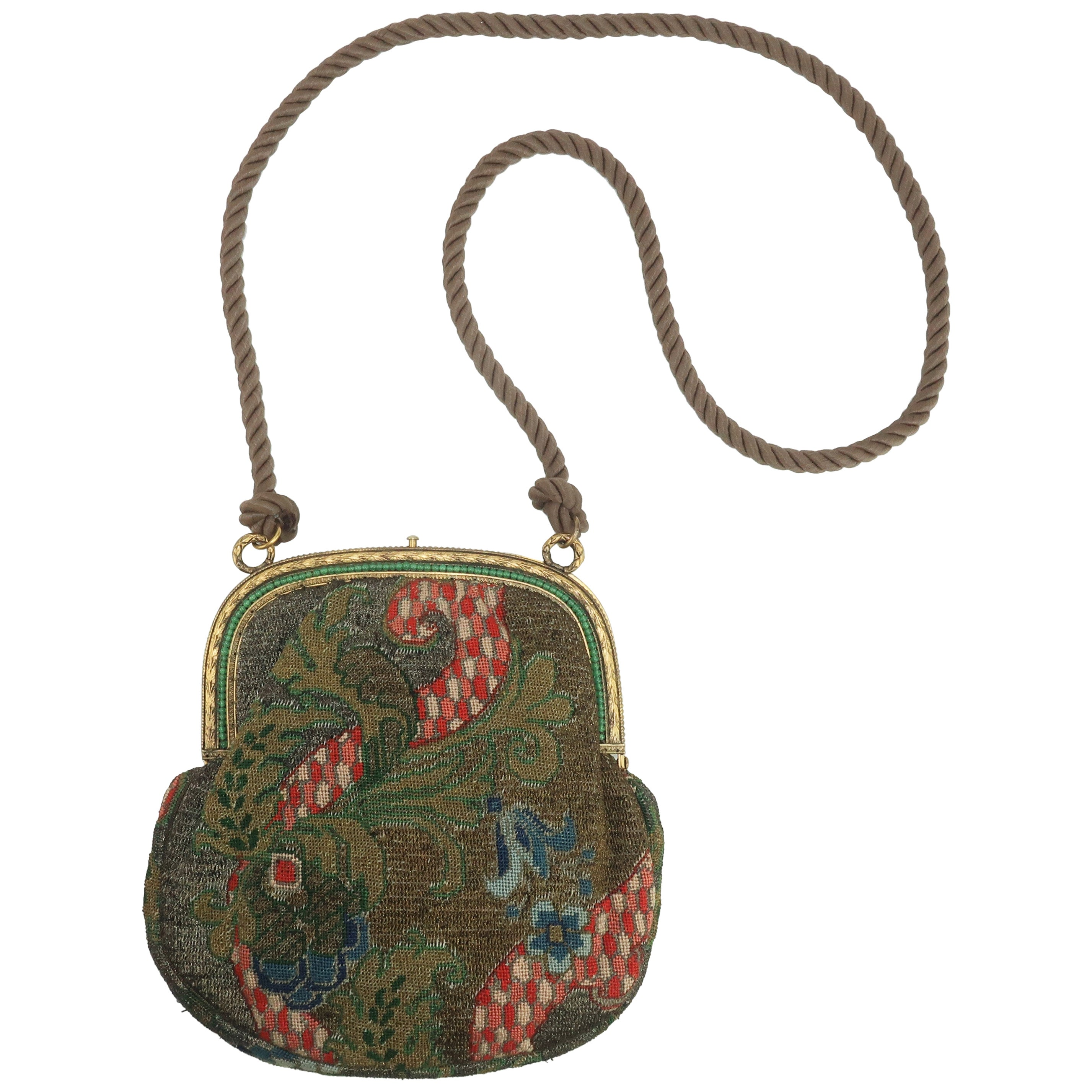 Vintage French Art Deco Metallic Petit Point Handbag