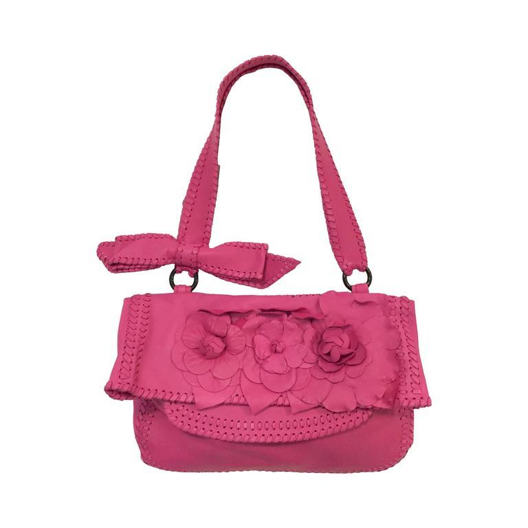 Valentino Garavani Pink Lambskin Shoulder Bag With Floral ...
