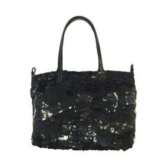 Valentino Garavani Sequined Shoulder Bag with Patent Trim