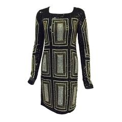 New All Love Black Long Sleeve Dress Encrusted with Beads and Sequins