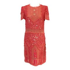 Emilio Pucci Coral Pink Beaded and Sequined Silk Cocktail Dress