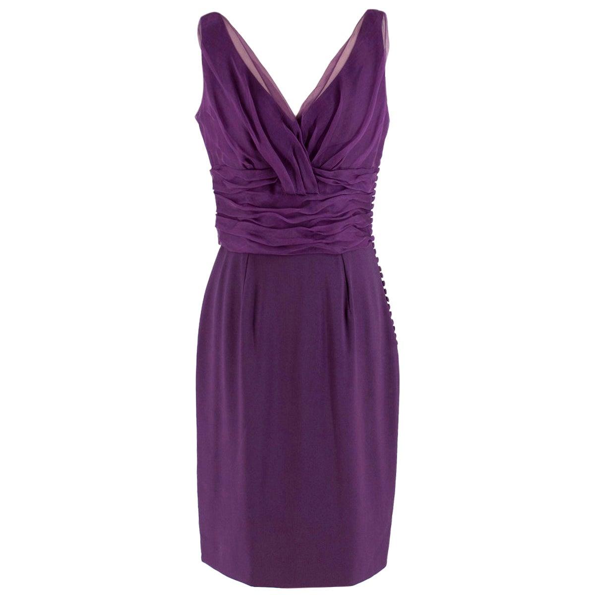 Christian Dior Purple Pleated Draped Dress - Size US 8