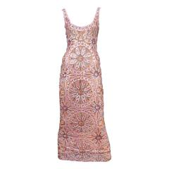 Randolph Duke Pink Beaded Gown