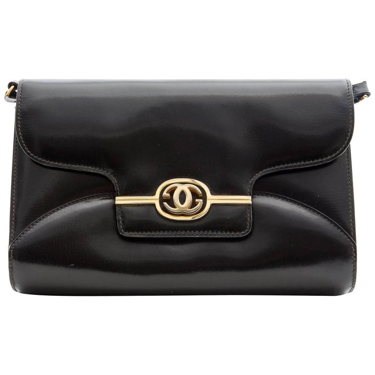Gucci Black Leather Clutch With Detachable Shoulder Strap, Circa 1970s For Sale