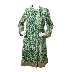 Christian Dior Silk Evening Leopard Printed Coat