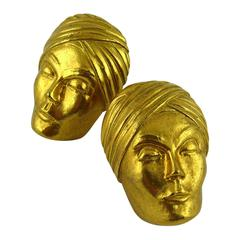 Isabel Canovas Vintage Massive Turban Head Clip-On Earrings
