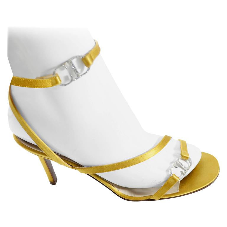Gold Vintage Christian Dior Shoes Ankle Strap Sandals Rhinestones CD Logo Clasp For Sale