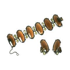 Schiaparelli Oversized Topaz Bracelet and Ear Clips