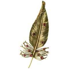 Sanz Ruby Gold Feather Brooch