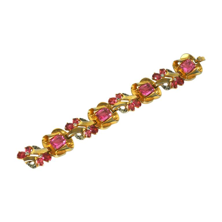 Mazer Pink Retro Link Bracelet For Sale