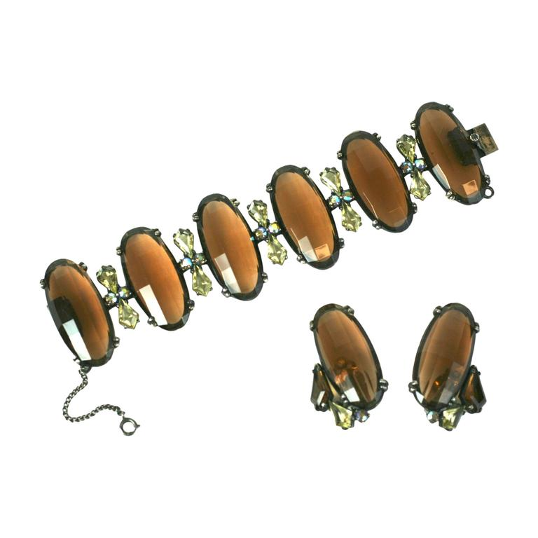 Schiaparelli Oversized Topaz Bracelet and Ear Clips For Sale