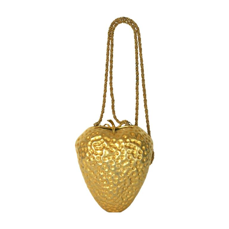 Gilt Italian Strawberry Shoulder Bag Purse
