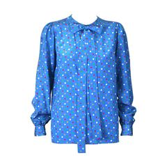 Yves Saint Laurent Polka Dot Bow Blouse
