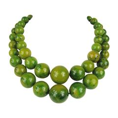 Vintage Original 1930s Green Marbleized Bakelite Double Strand Necklace