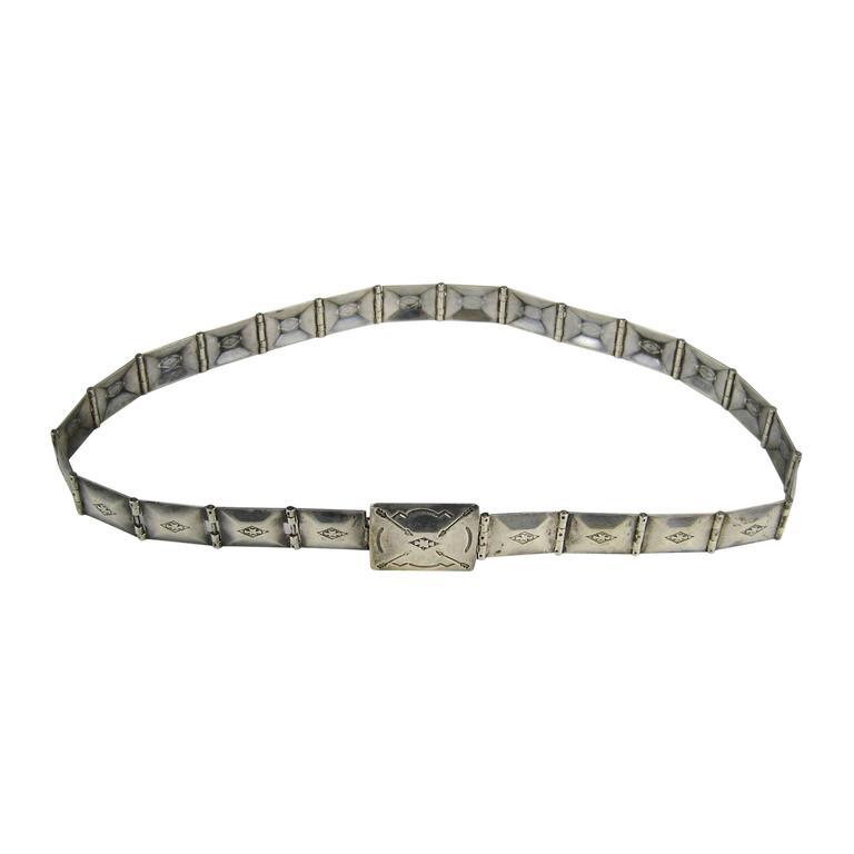 Native American Zuni Sterling Silver Paneled Belt
