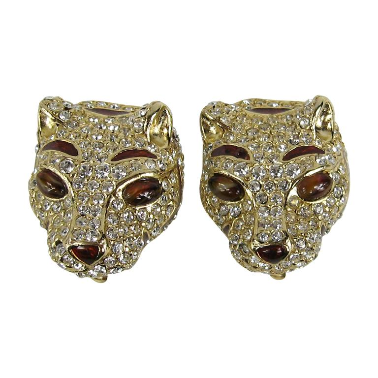 1980s Ciner encrusted swarovski Crystal Lion Earrings - New Old stock 1