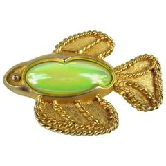 Vintage Lime Green Angel Fish Brooch New Old Stock 1990s