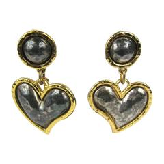 Large Edouard Rambaud Heart Dangle Earrings