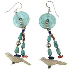 Native American Pawn Turquoise Fetish Bird  Earrings Sterling Silver