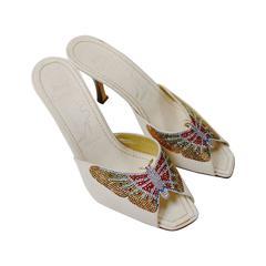 Caovilla Rhinestone Butterfly Mules