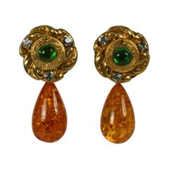 Maison Gripoix for Yves Saint Laurent Poured Glass and Amber Earrings