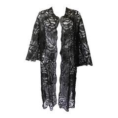 Edwardian Black Handmade Battenburg Lace Jacket