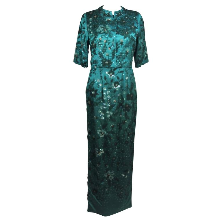 1960's Custom Emerald Heavily Embellished Gown and Jacket Size 4-8