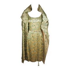HAUTE COUTURE INTERNATIONAL Heavily Beaded Silk Champagne Opera Coat & Dress