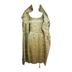 HAUTE COUTURE INTERNATIONAL Heavily Beaded Silk Champagne Opera Coat & Dress